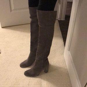 Halogen gray over the knee suede boots